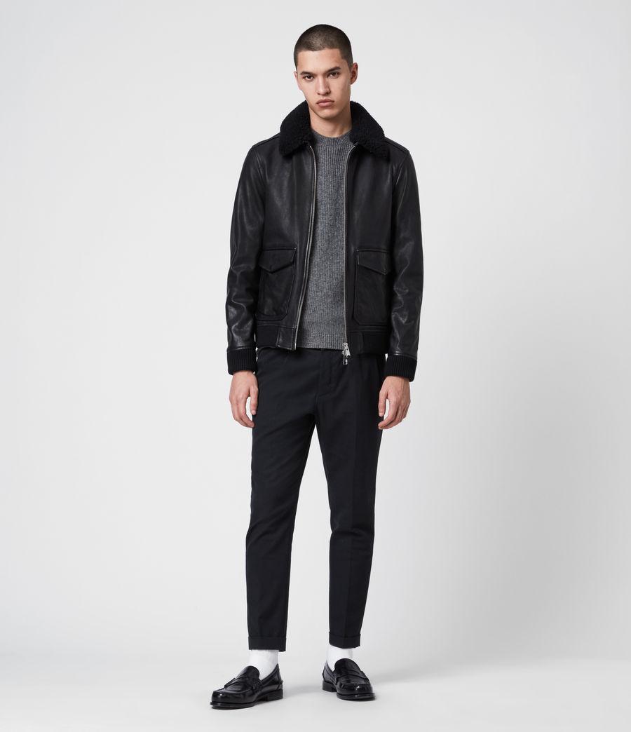 Men's Phoenix Leather Aviator Jacket (black) - Image 3