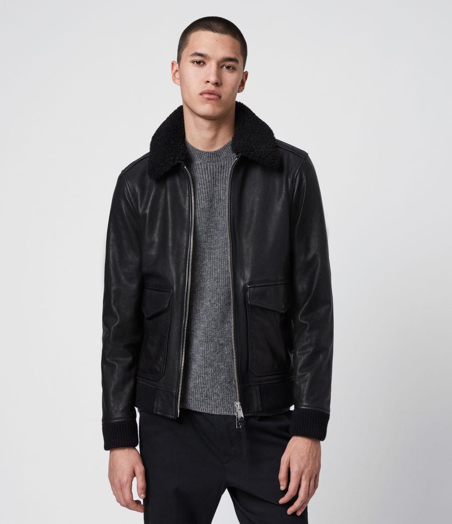 Men's Phoenix Leather Aviator Jacket (black) - Image 4