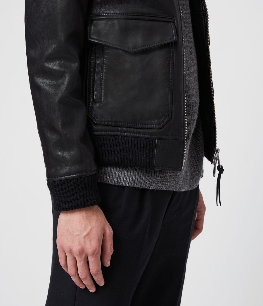 Hombres Cazadora Aviator de Cuero con Cuello Extraíble en Borreguillo Phoenix (black) - Image 5