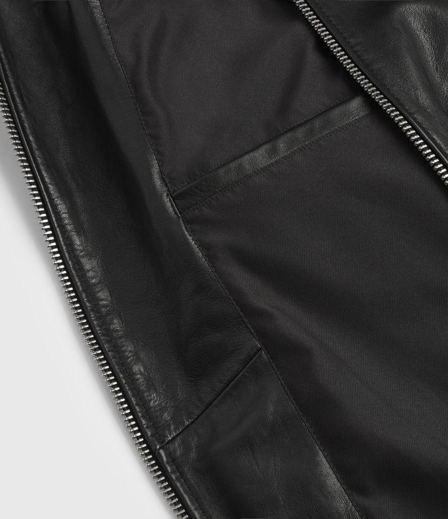 Hombres Cazadora Aviator de Cuero con Cuello Extraíble en Borreguillo Phoenix (black) - Image 7
