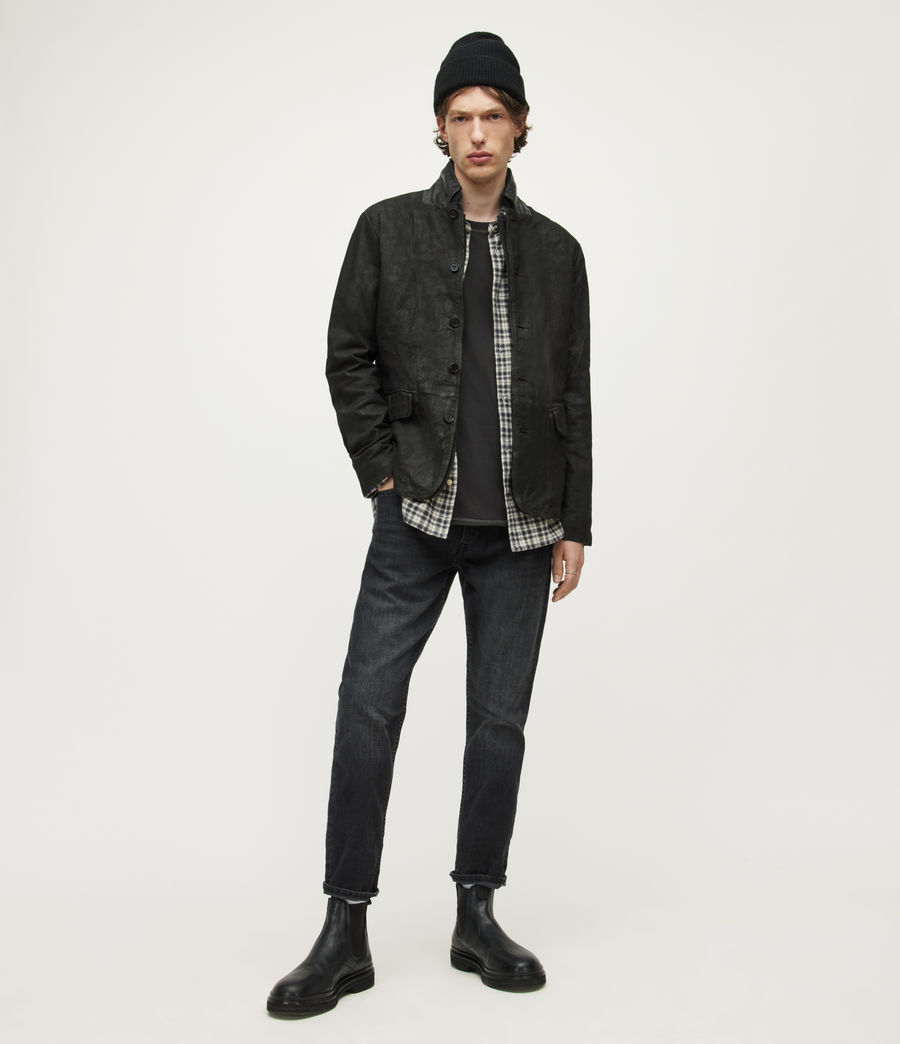 Men's Survey Leather Blazer (anthracite_grey) - Image 3