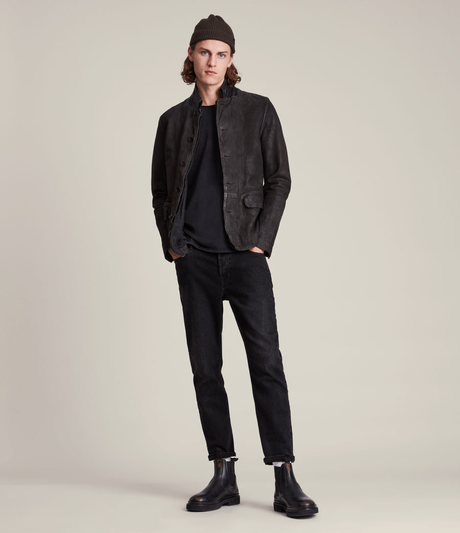 Mens Survey Leather Blazer (ANTHRACITE GREY) - Image 4