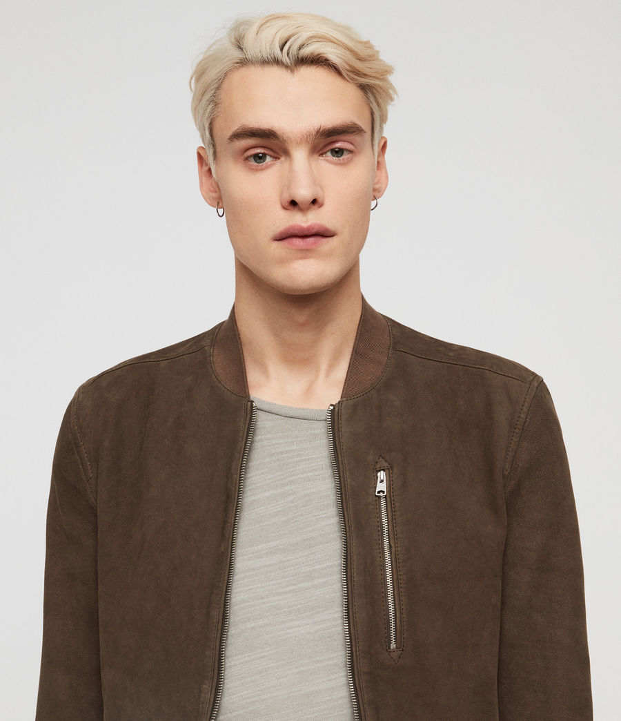 Men's Stones Suede Bomber Jacket (dark_khaki_green) - Image 2