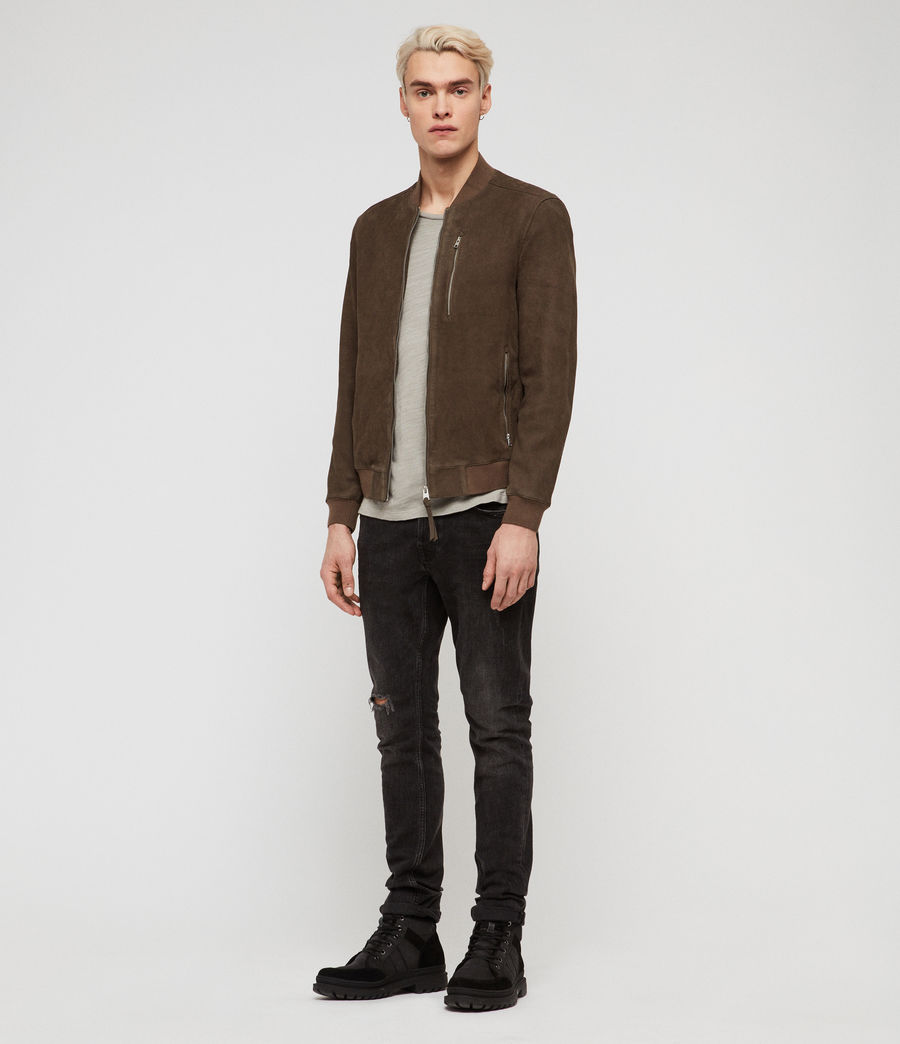 Men's Stones Suede Bomber Jacket (dark_khaki_green) - Image 3