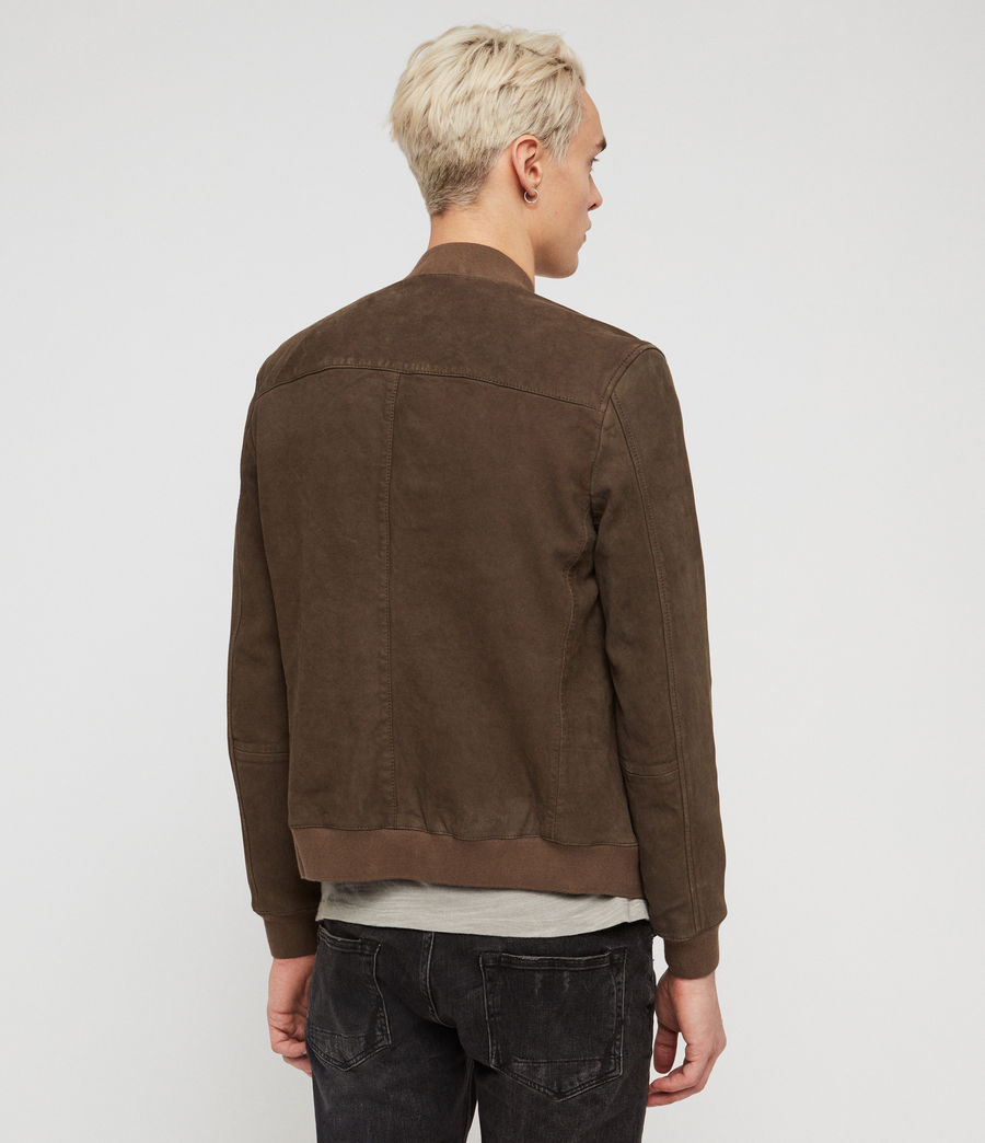 Men's Stones Suede Bomber Jacket (dark_khaki_green) - Image 4