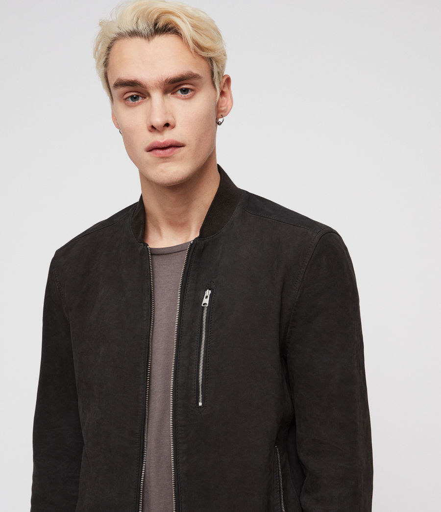 Mens Stones Leather Bomber Jacket (slate_blue) - Image 2