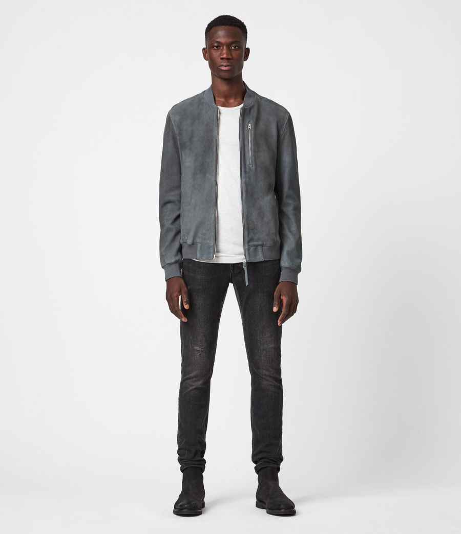 Mens Stones Suede Bomber Jacket (shadow_blue) - Image 1