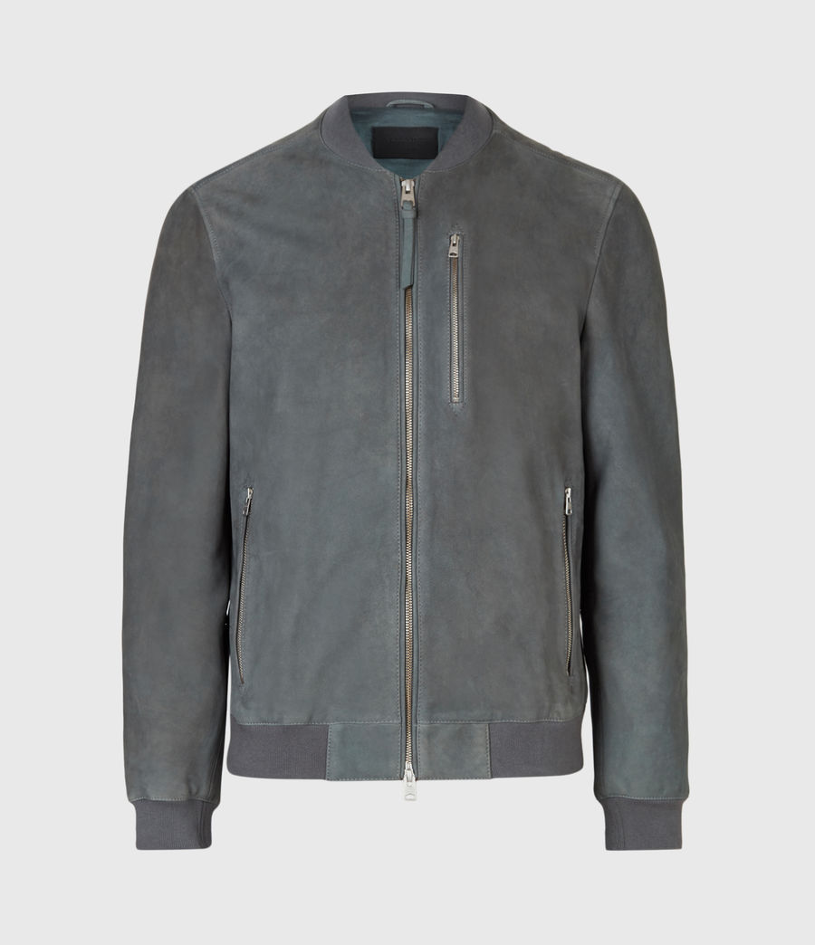 Mens Stones Suede Bomber Jacket (shadow_blue) - Image 2