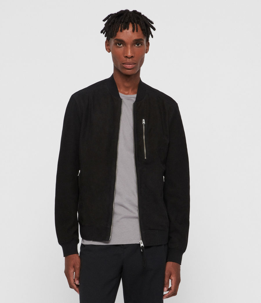 Men's Stones Nubuck Bomber Jacket (black) - Image 1