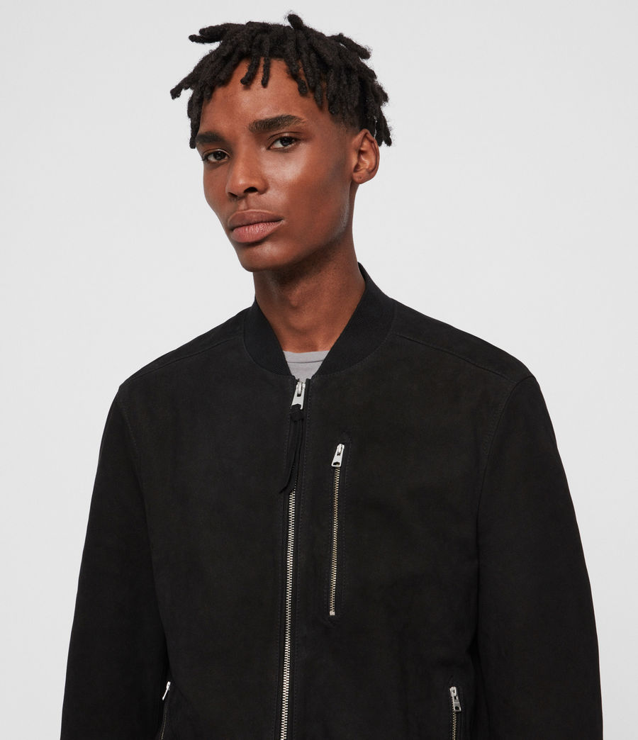 Men's Stones Nubuck Bomber Jacket (black) - Image 2