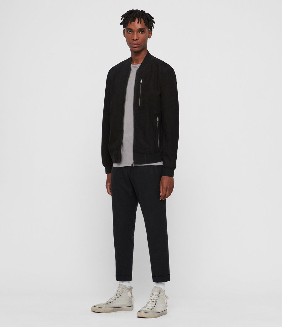 Men's Stones Nubuck Bomber Jacket (black) - Image 3