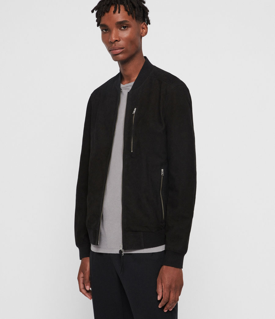 Men's Stones Nubuck Bomber Jacket (black) - Image 4