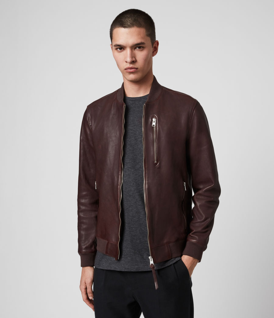 Mens Mason Leather Bomber Jacket (oxblood_red) - Image 1