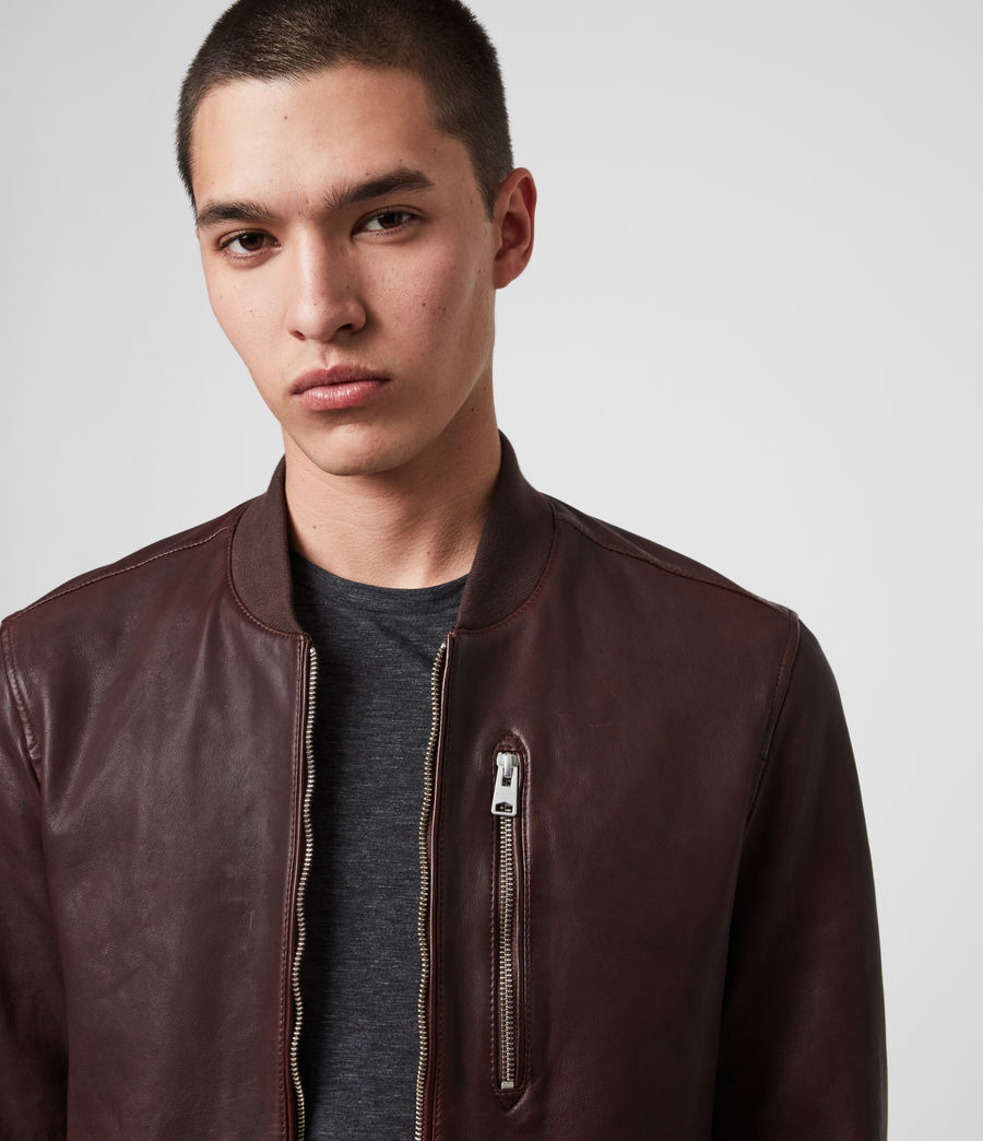 Mens Mason Leather Bomber Jacket (oxblood_red) - Image 2