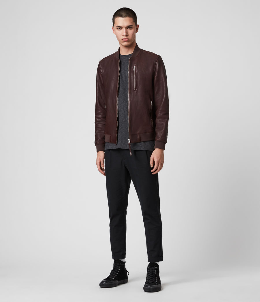 Mens Mason Leather Bomber Jacket (oxblood_red) - Image 3