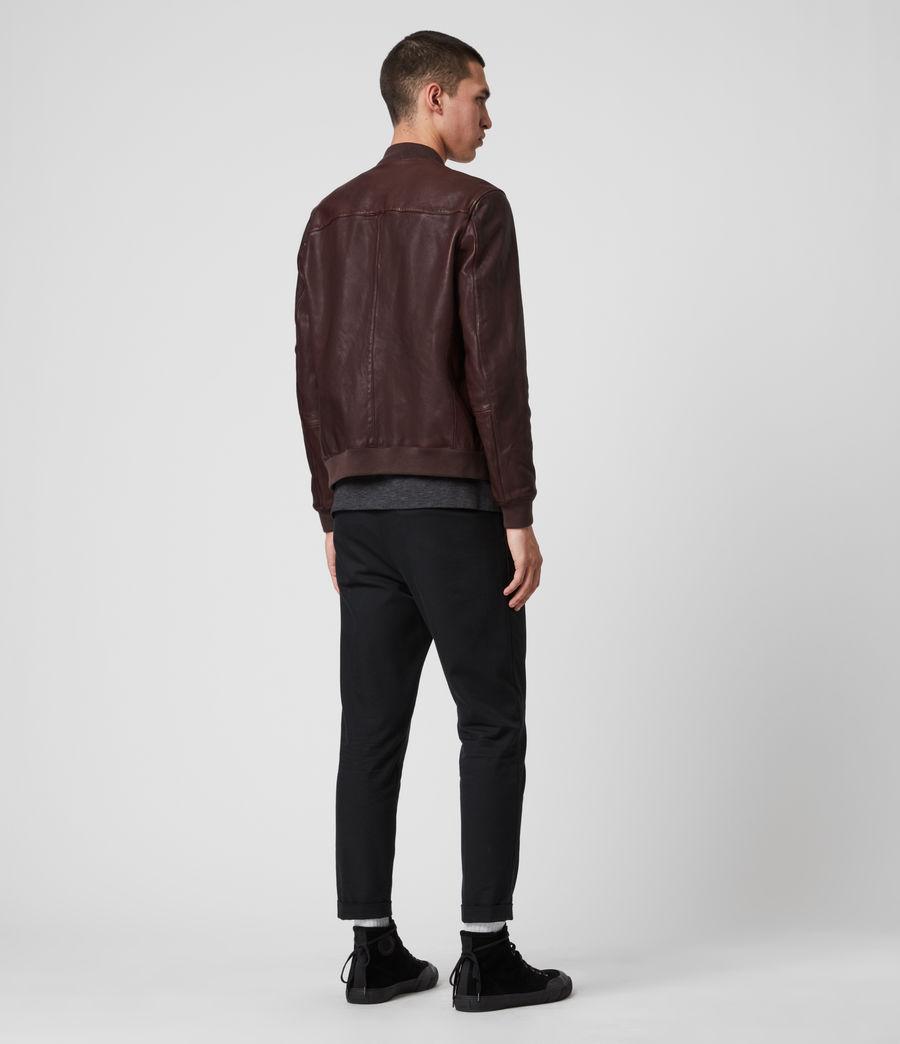 Mens Mason Leather Bomber Jacket (oxblood_red) - Image 4