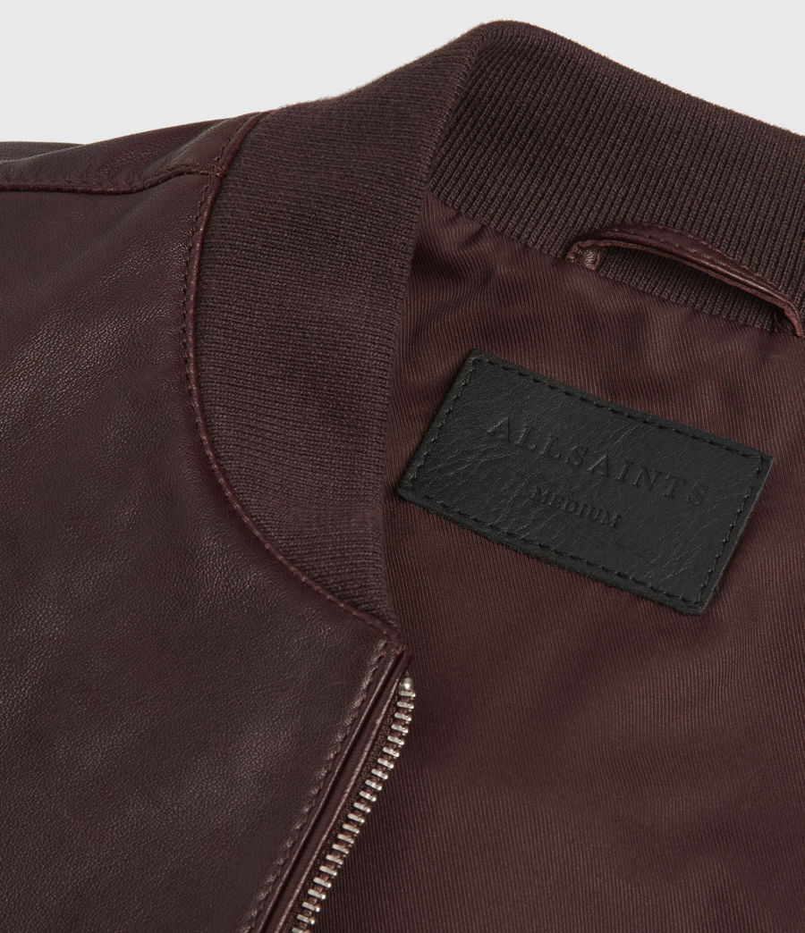 Mens Mason Leather Bomber Jacket (oxblood_red) - Image 5