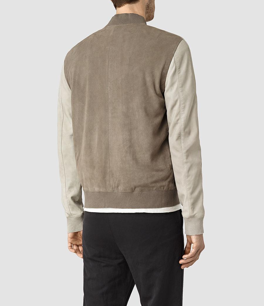 Mens Academy Suede Bomber Jacket (khaki_grn_oystrwht) - Image 4