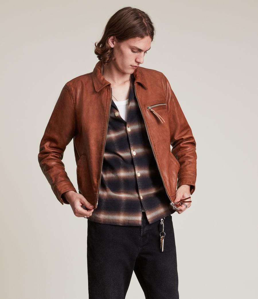 Men's Stanley Leather Jacket (tan) - Image 3