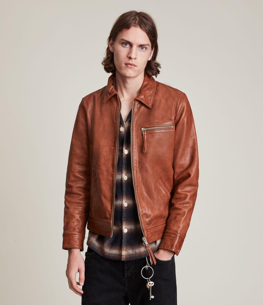 Men's Stanley Leather Jacket (tan) - Image 4
