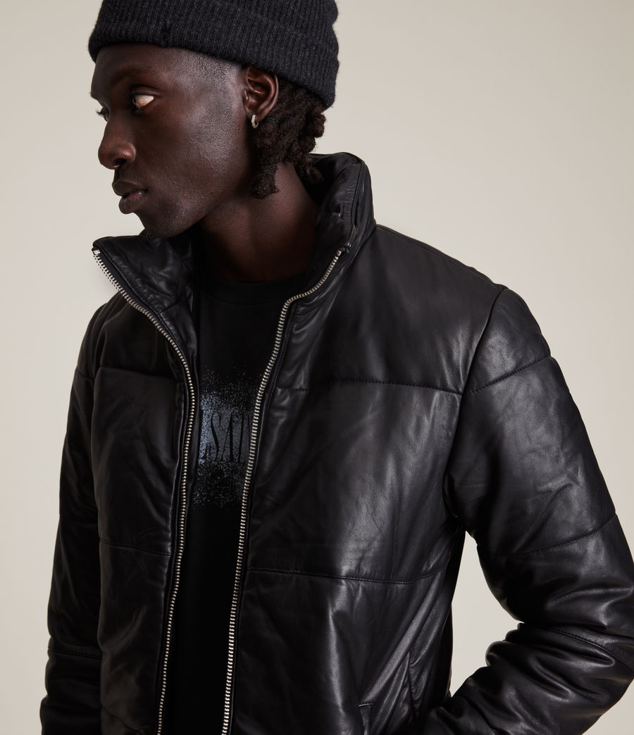 Mens Coronet Leather Puffer Jacket (black) - Image 2