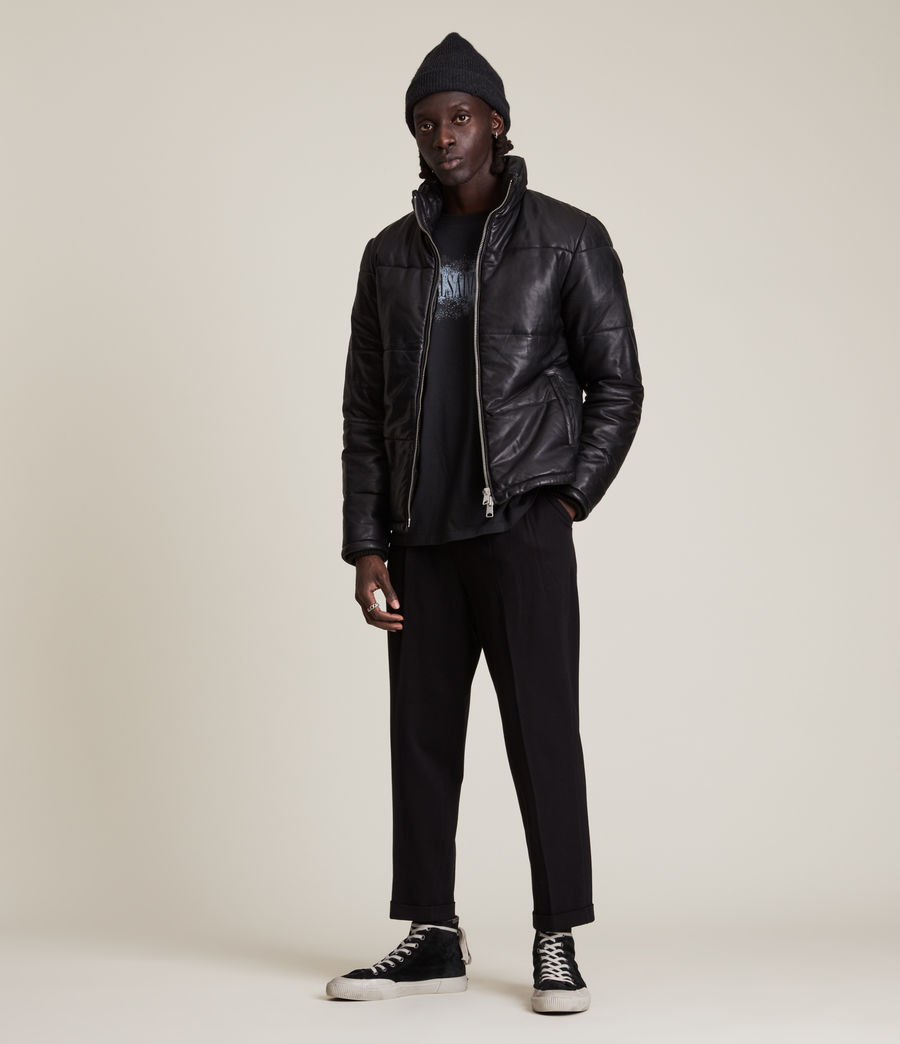 Men's Coronet Leather Puffer Jacket (black) - Image 3
