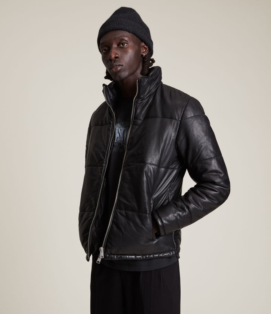 Men's Coronet Leather Puffer Jacket (black) - Image 4