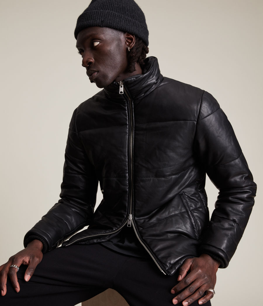 Mens Coronet Leather Puffer Jacket (black) - Image 5