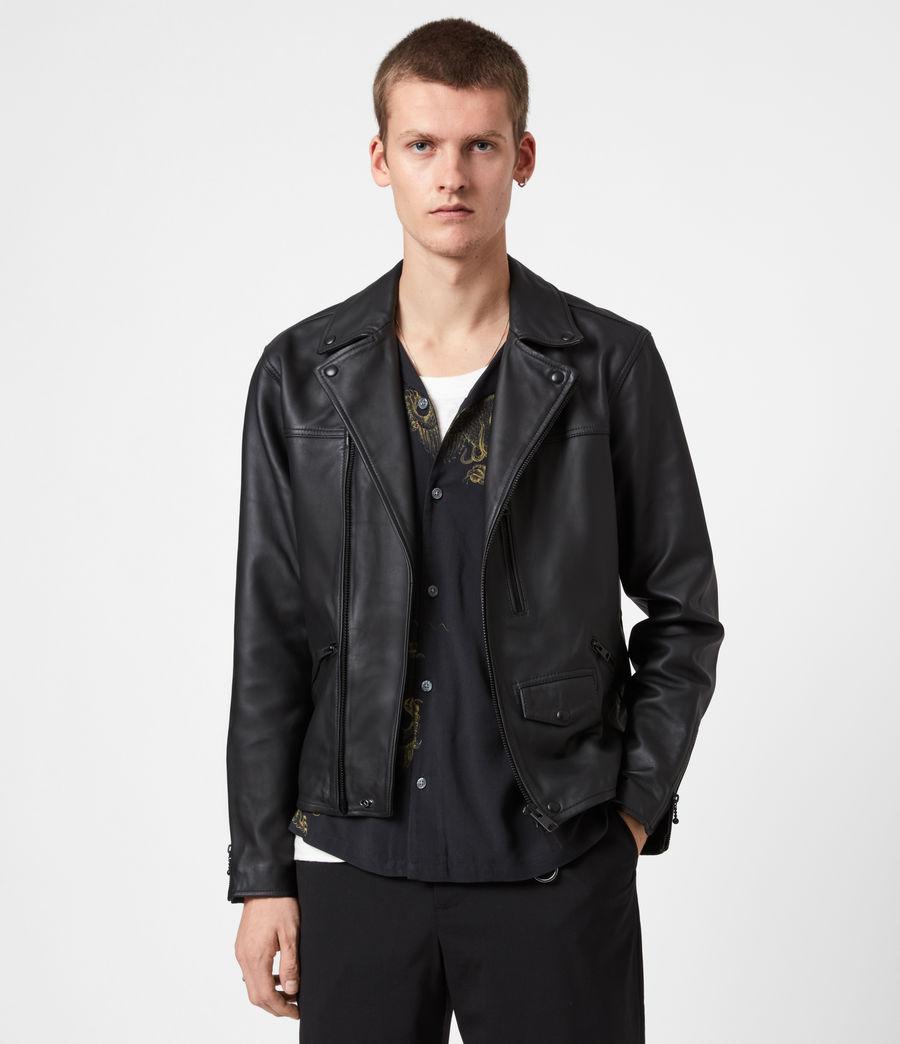 Men's Roso Leather Biker Jacket (black) - Image 1