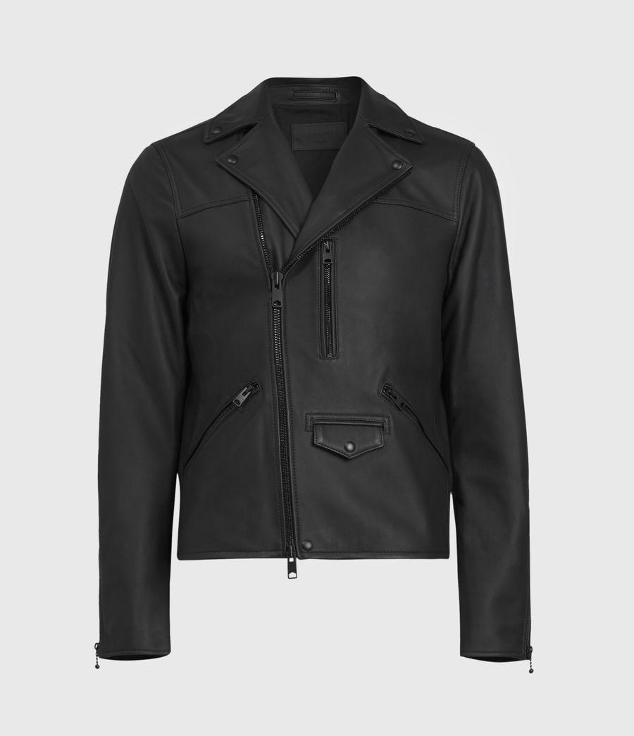 Men's Roso Leather Biker Jacket (black) - Image 2