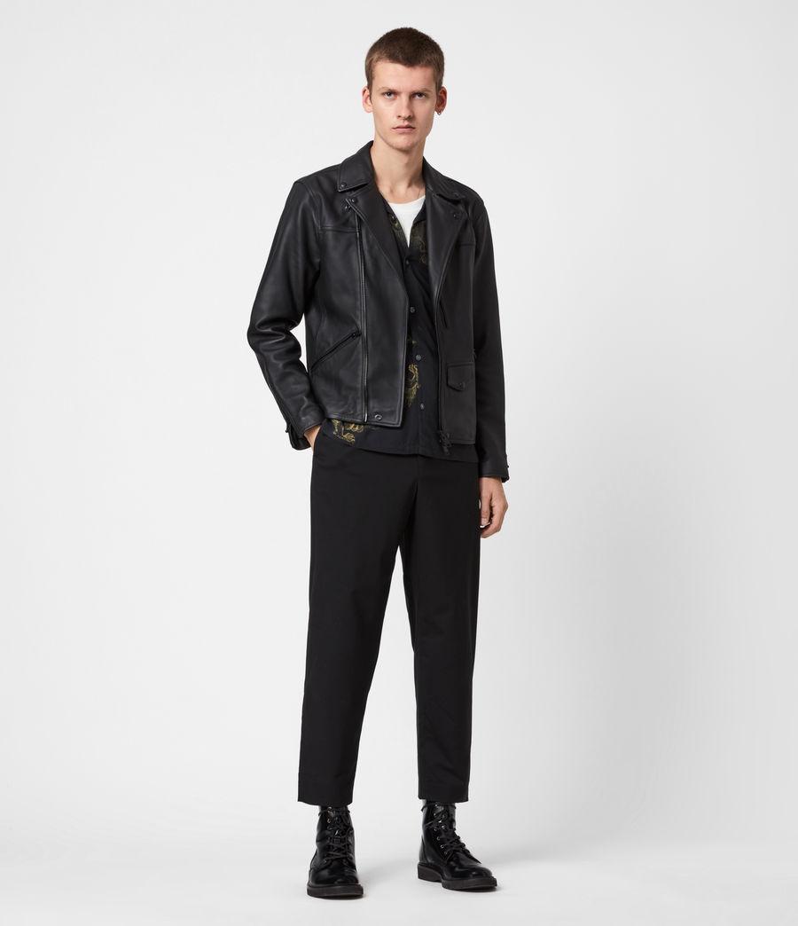 Men's Roso Leather Biker Jacket (black) - Image 4