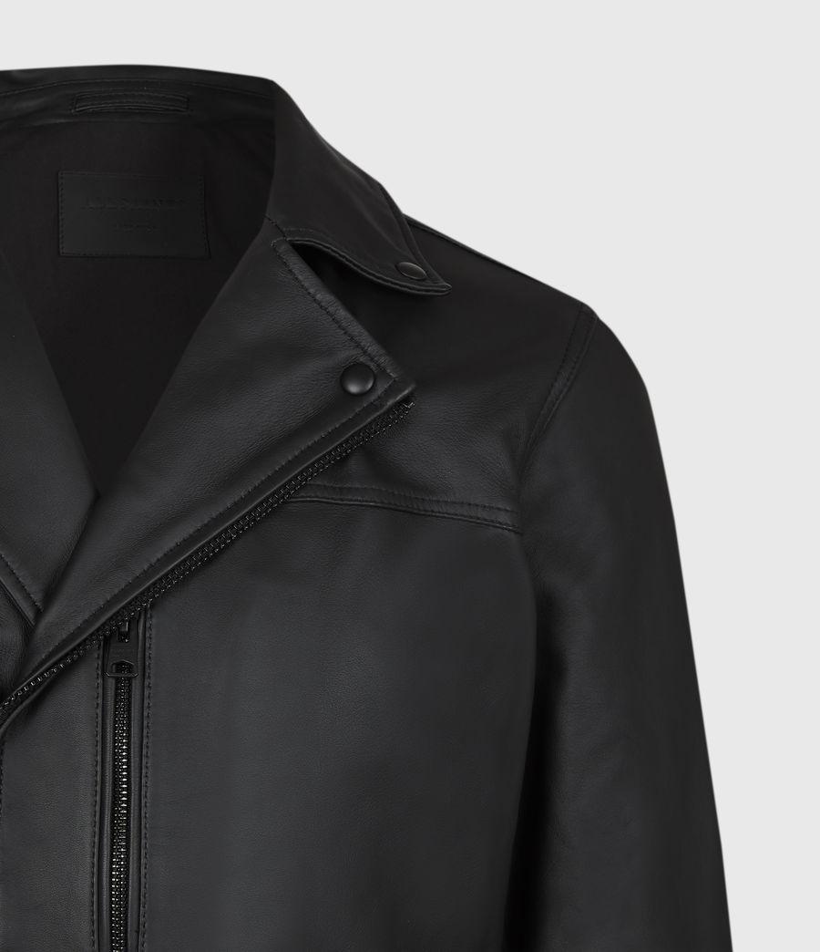 Men's Roso Leather Biker Jacket (black) - Image 5