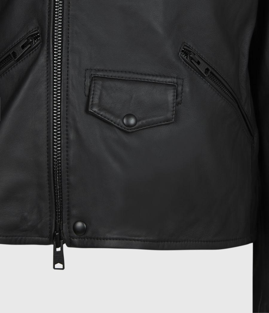 Men's Roso Leather Biker Jacket (black) - Image 6