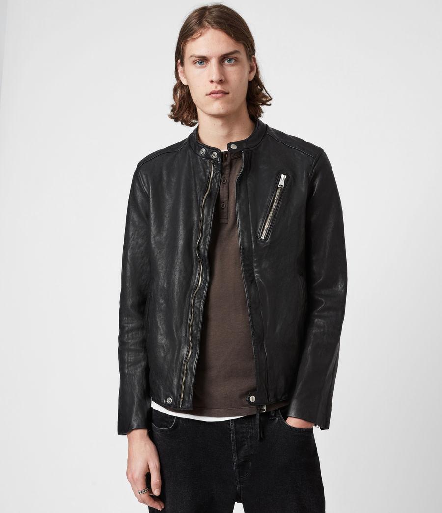 Mens Floyd Leather Biker Jacket (black) - Image 1