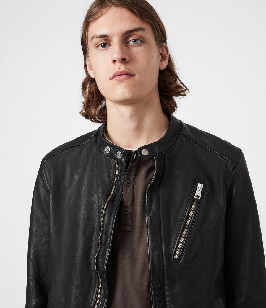 Mens Floyd Leather Biker Jacket (black) - Image 2