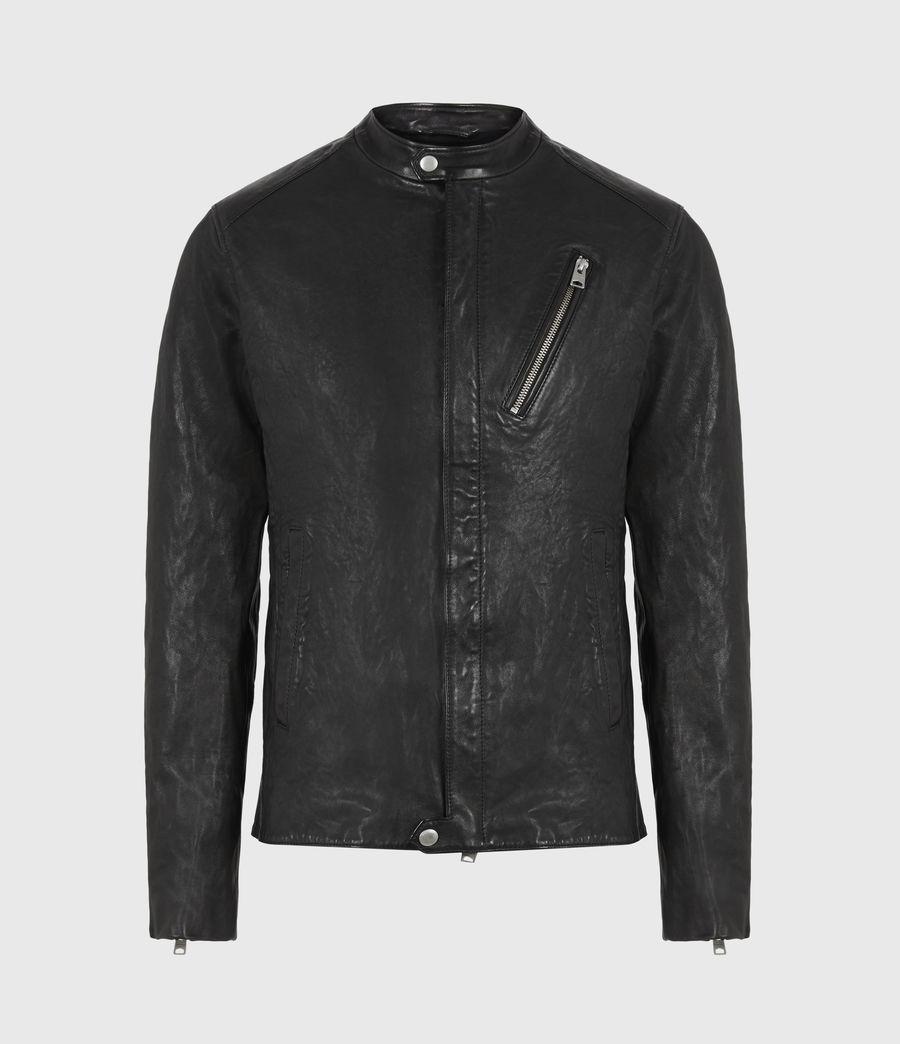 Mens Floyd Leather Biker Jacket (black) - Image 3