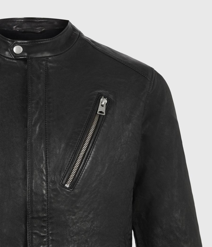 Mens Floyd Leather Biker Jacket (black) - Image 5