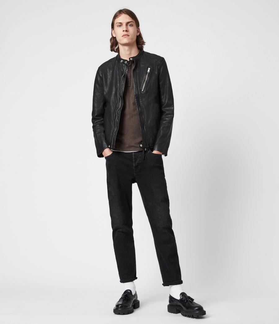 Mens Floyd Leather Biker Jacket (black) - Image 6