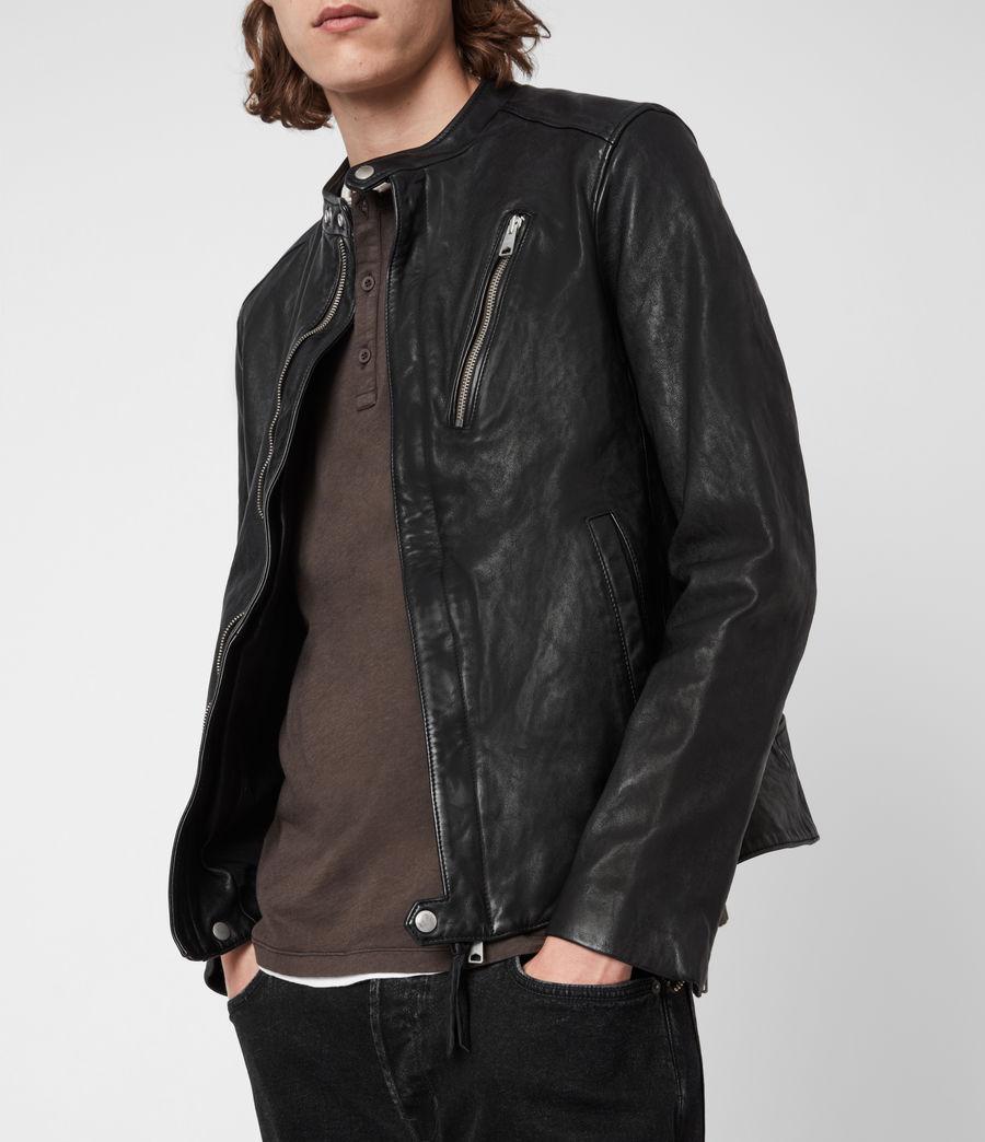 Mens Floyd Leather Biker Jacket (black) - Image 7