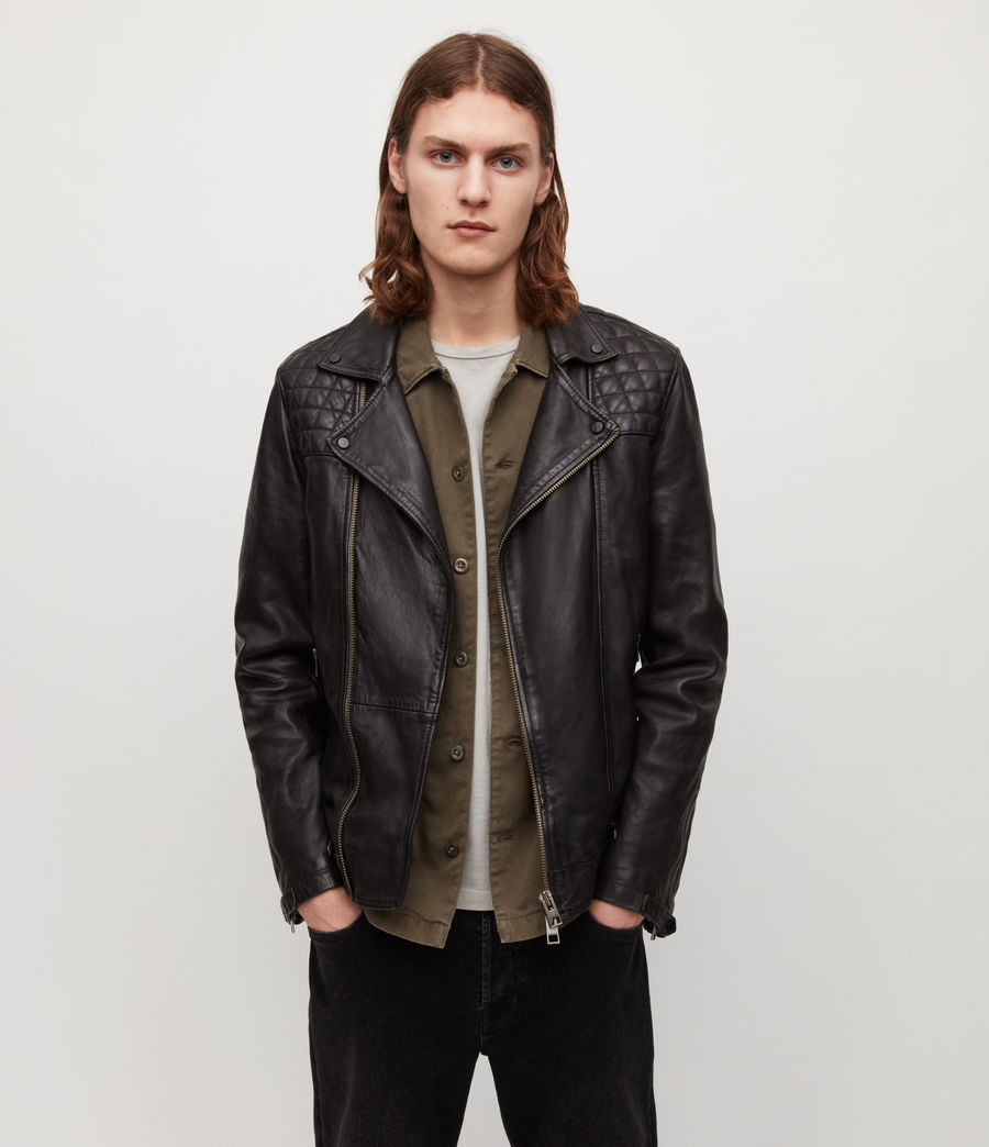 Mens Conroy Leather Biker Jacket (ink_navy) - Image 1