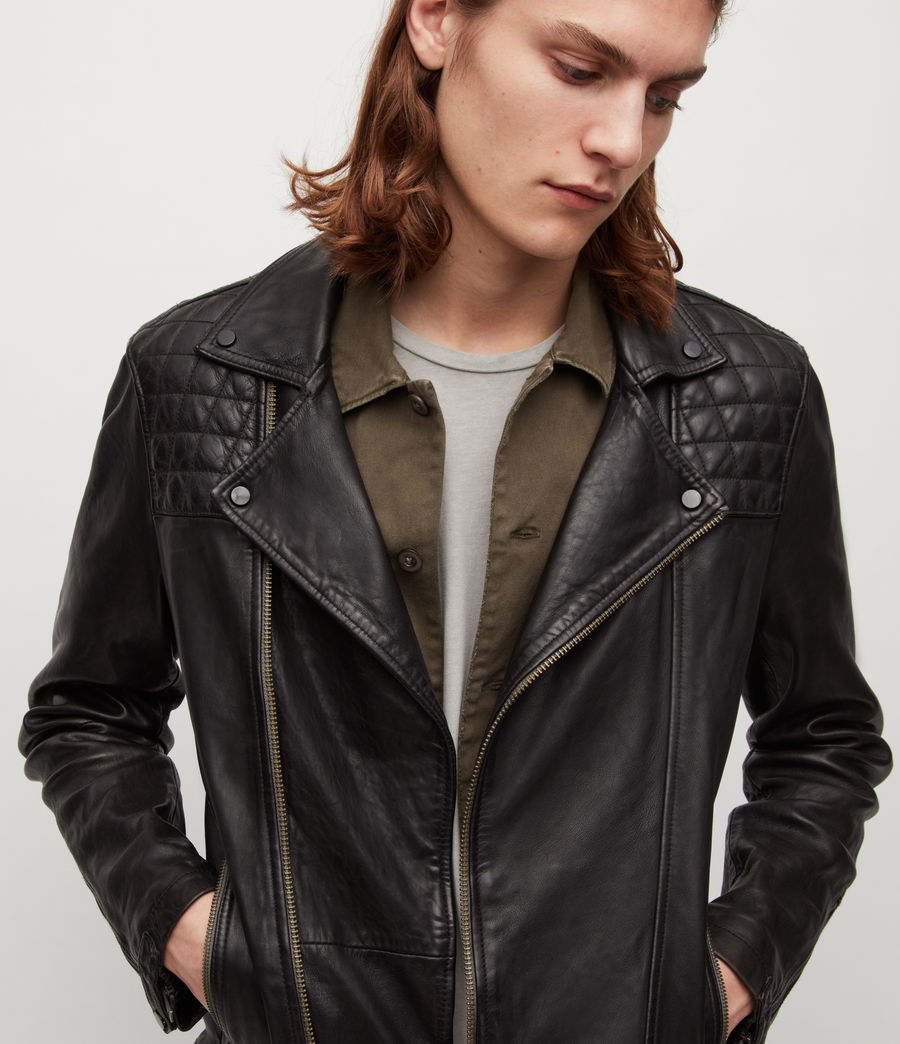 Mens Conroy Leather Biker Jacket (ink_navy) - Image 2