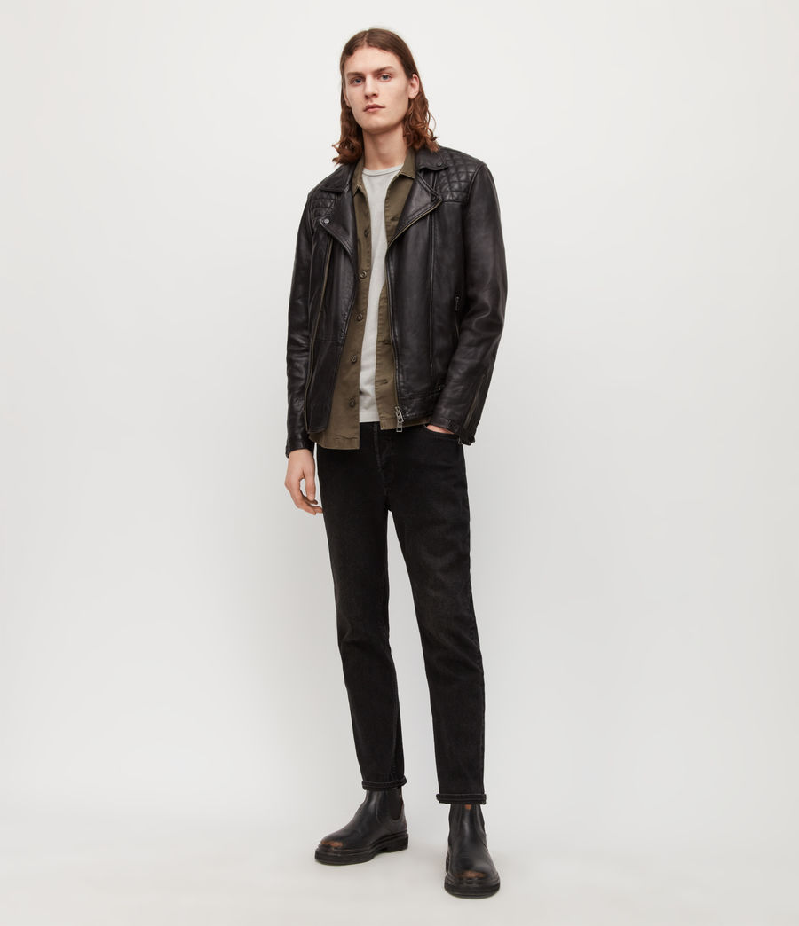 Mens Conroy Leather Biker Jacket (ink_navy) - Image 3