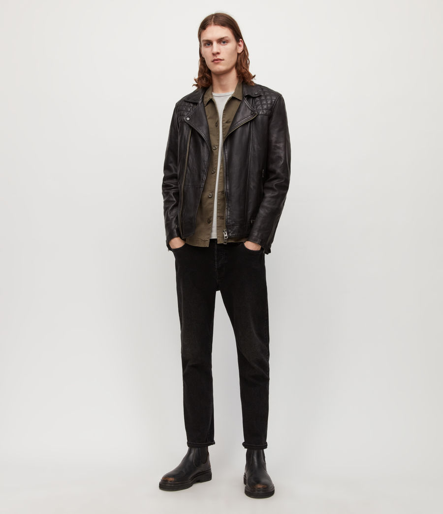 Mens Conroy Leather Biker Jacket (ink_navy) - Image 5