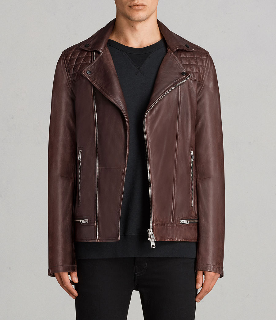 Mens Conroy Leather Biker Jacket (oxblood_red) - Image 1