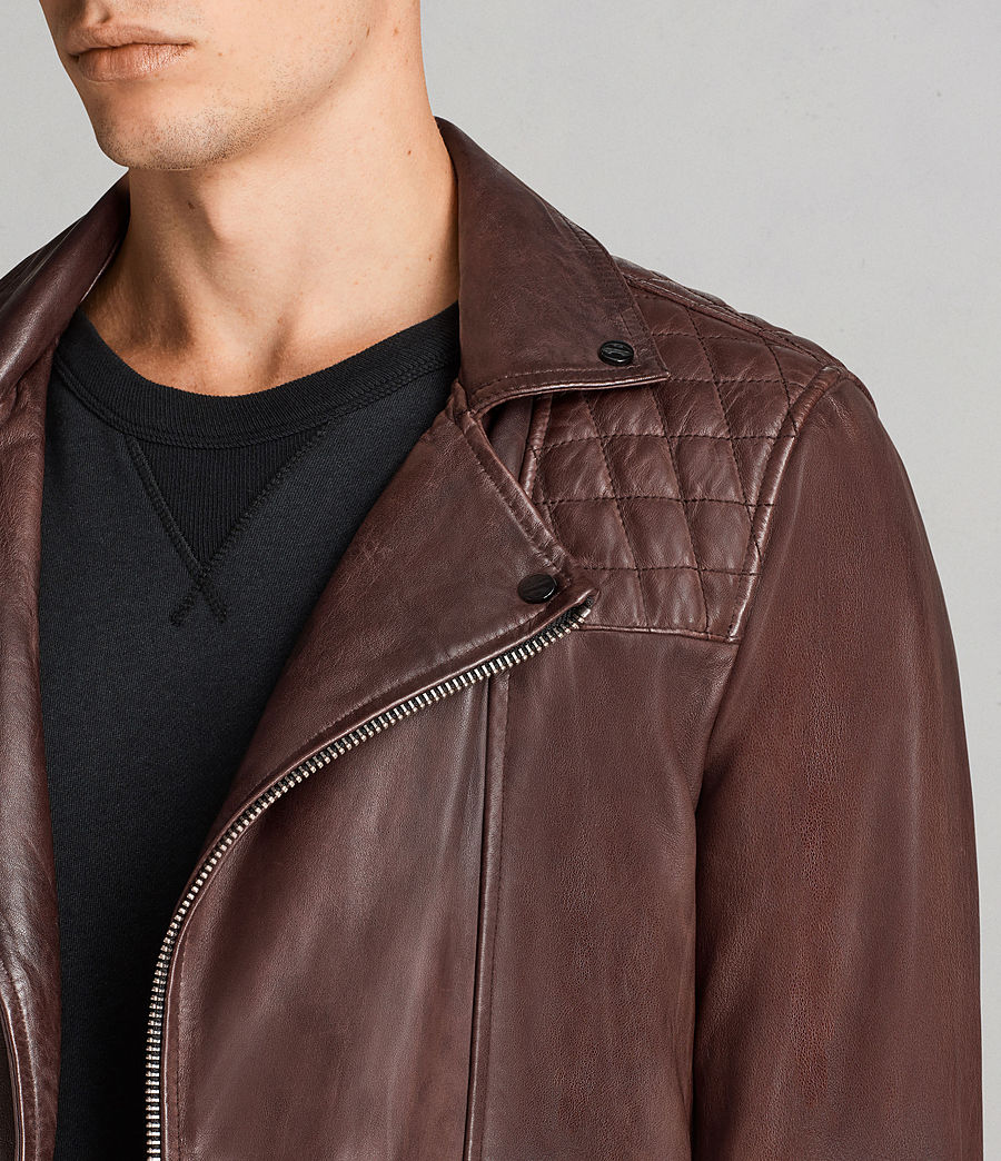 Mens Conroy Leather Biker Jacket (oxblood_red) - Image 2