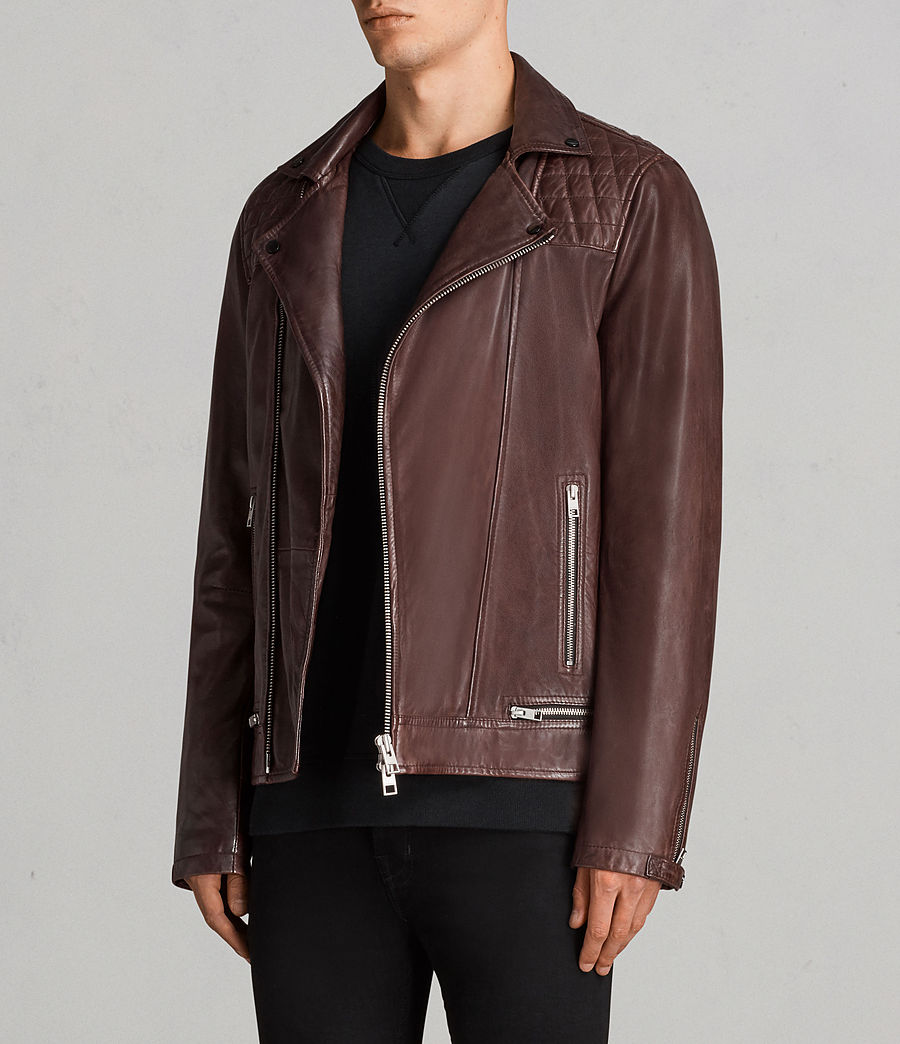 Mens Conroy Leather Biker Jacket (oxblood_red) - Image 3