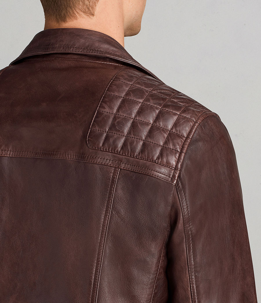 Mens Conroy Leather Biker Jacket (oxblood_red) - Image 4