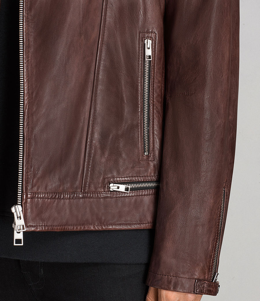 Mens Conroy Leather Biker Jacket (oxblood_red) - Image 5