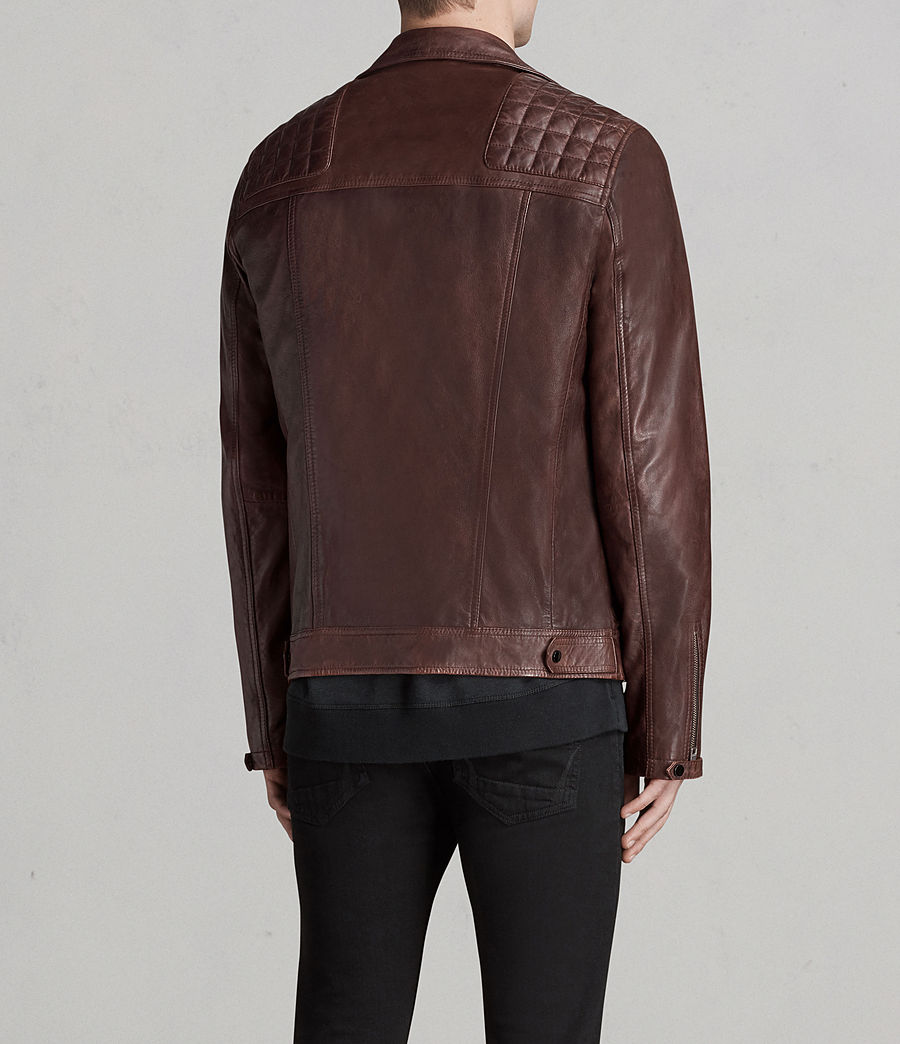 Mens Conroy Leather Biker Jacket (oxblood_red) - Image 6