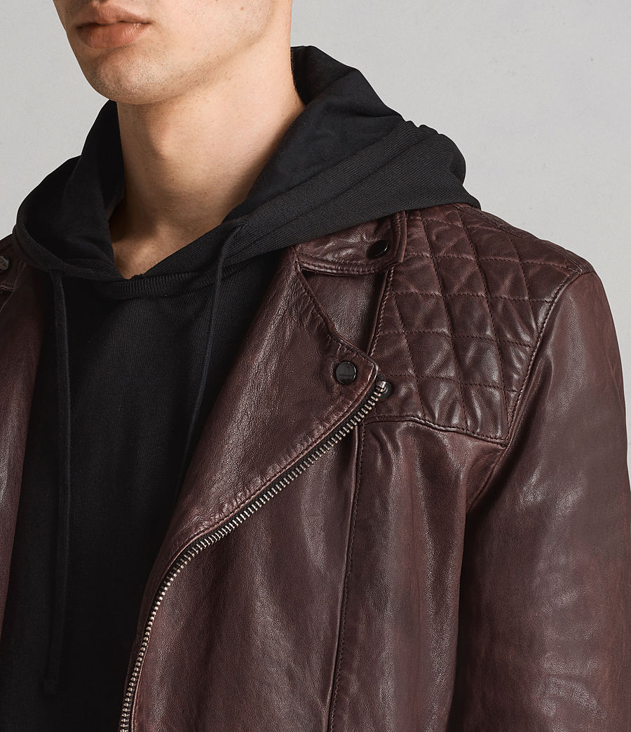 Mens Conroy Leather Biker Jacket (oxblood_red) - Image 7